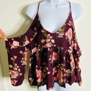 🌈BUNDLE SALE AEO Burgundy Floral Cold Shoulder